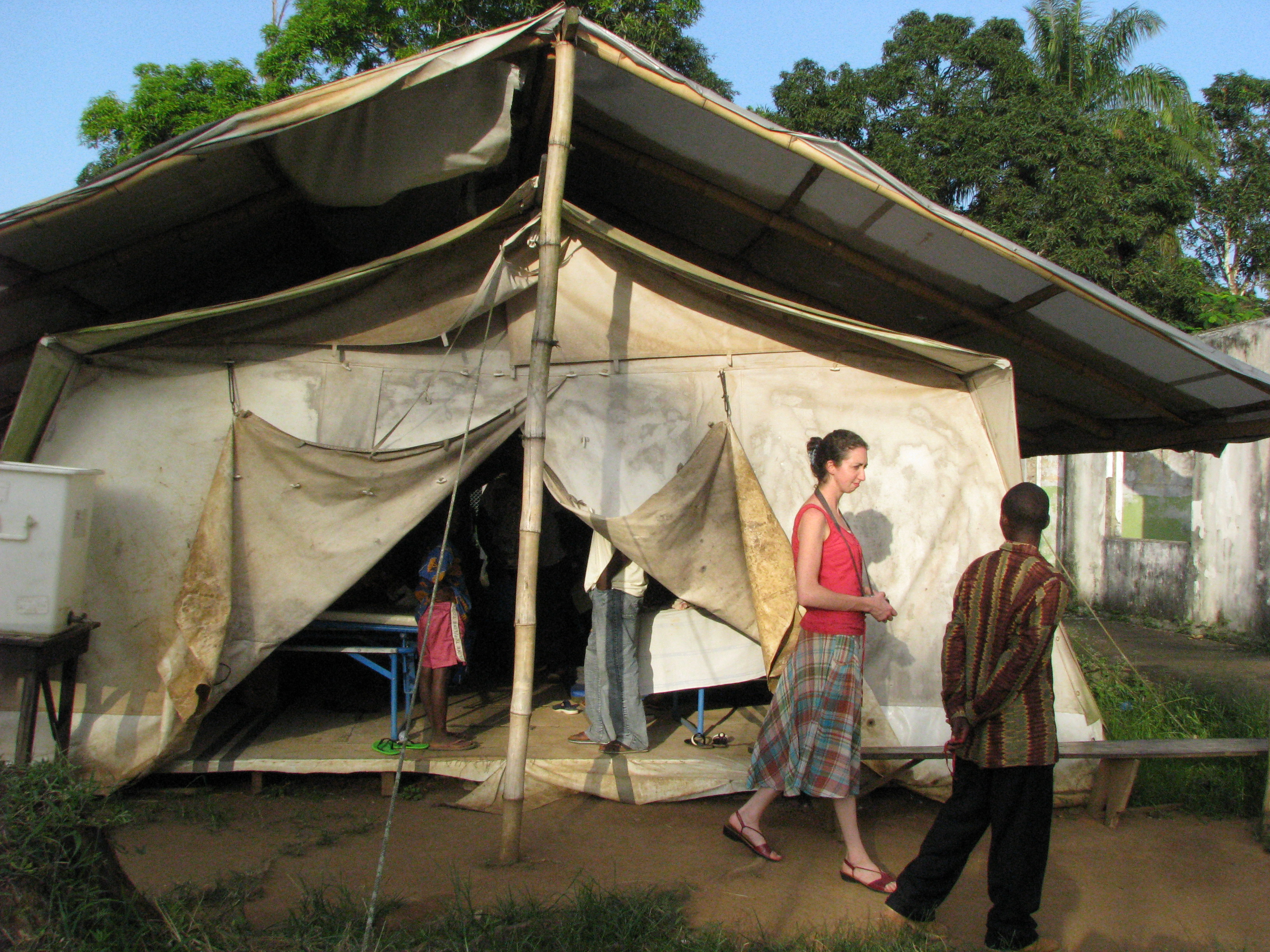 Ulster Missionary and trained nurse Joanne Greer visits a makeshift hospital in Foya, Liberia West Africa