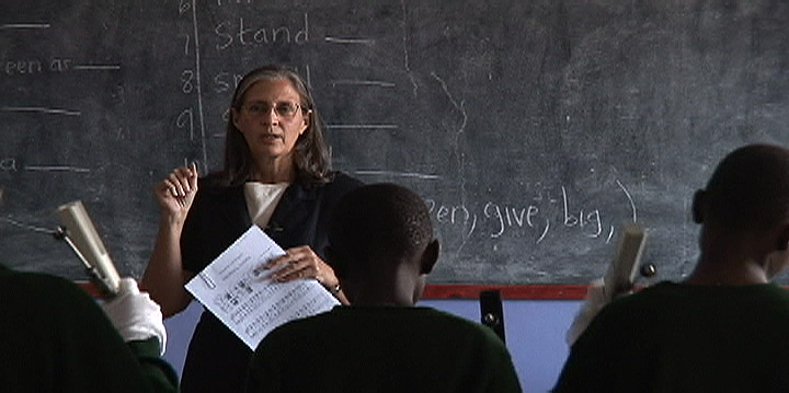 Kenya missionary Kathy Walker teaches music class at BCFC Christian Academy in Kapenguria, Kenya.