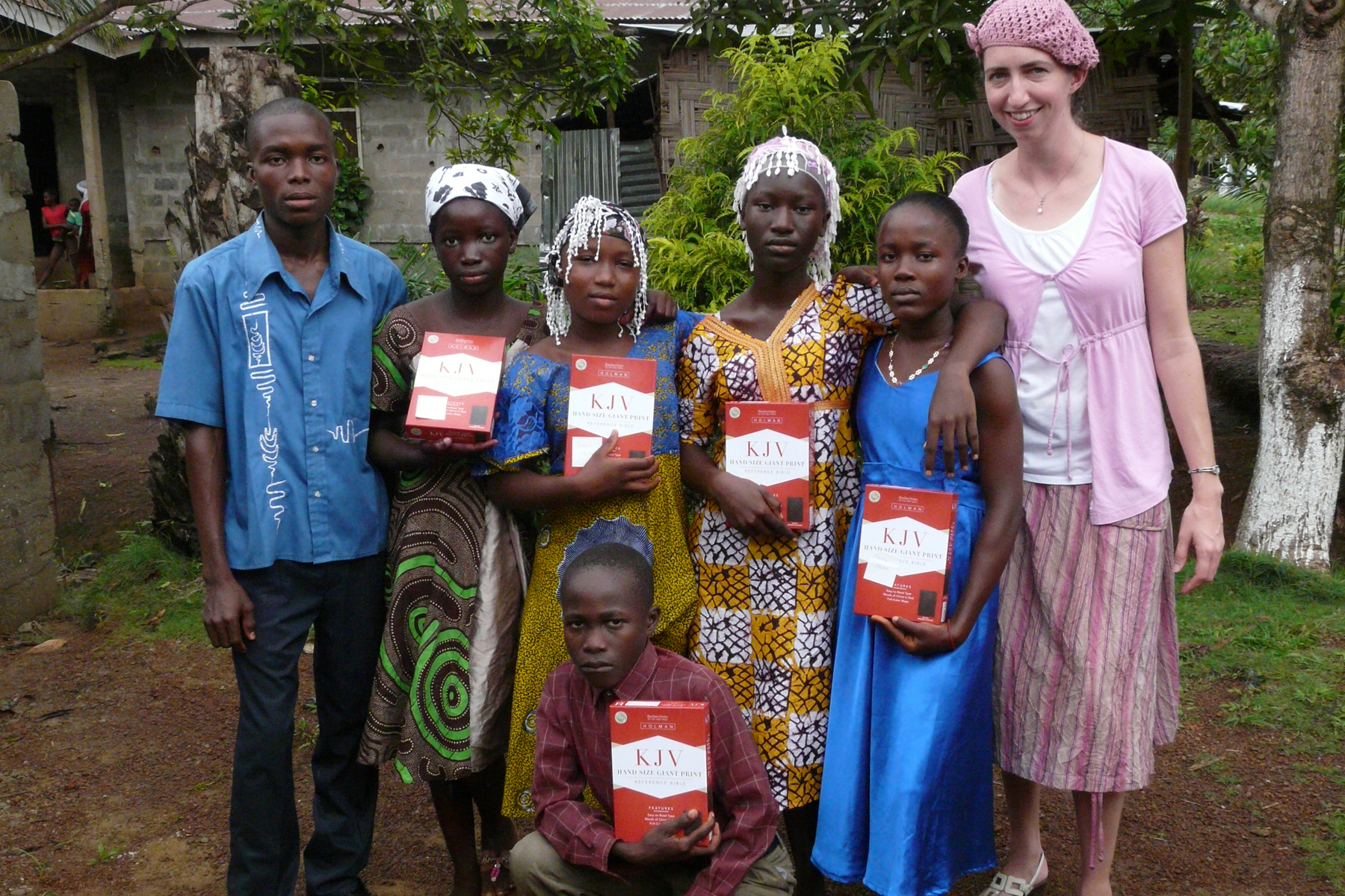 Joanne Greer, Liberian missionary from the Free Presbyterian Church of Ulster, poses with her students shortly before her evacuation from the country because of the deadly Ebola virus