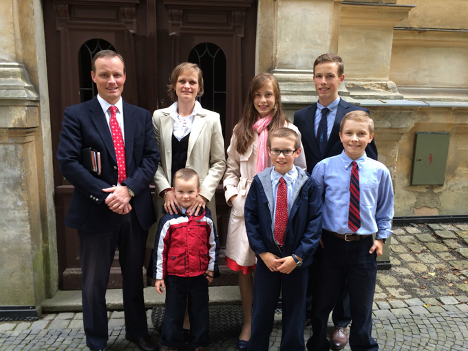 Milos and Martina Solc with their five children in Liberec, Czech Republic where they have been laboring as missionaries since 2007.