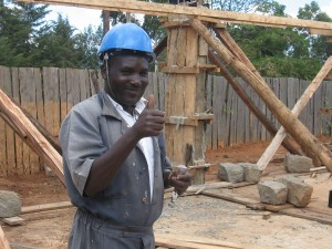 Peter Andiema at the construction site of the BCFC Christian Academy in Kapenguria, Kenya.