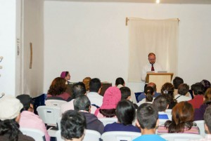 Missionary Jason Boyle preaches to his congregation at the Christian Redeemer Church in Mexico City.