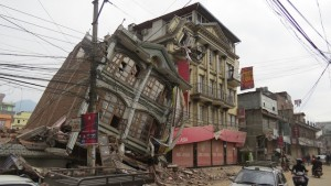 Damage to buildings in downtown Kathmandu after a 7.3 magnitude earthquake rocked the country of Nepal leaving thousands homeless.