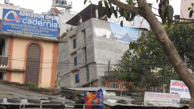 Damage to a building in Kathmandu, Nepal.