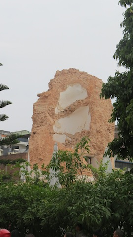 The remains of Dharara Tower in Kathmandu.