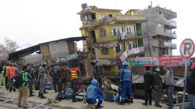 Buildings lean from Saturdays 7.8 magnitude earthquake in downtown Kathmandu.