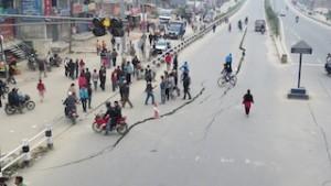 A split section of road near the FPCN church in Kathmandu, Nepal.