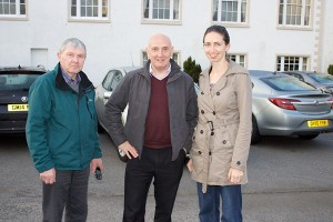 Driver Bertie Moffet, pictured with Noel Shields and Joanne Greer in Stranraer, Scotland.