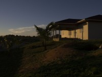 A view of the unfinished back porch facing the ocean on house two on the Free Presbyterian mission compound in Dwazon, Liberia.