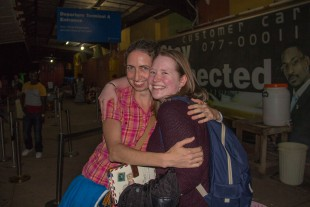 Northern Ireland missionary Joanne Greer greets Christina Logan at the Roberts International Airport, in Liberia, West Africa shortly after Christina's arrival to the country.