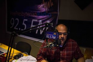 Rev. David DiCanio broadcasts live on Free Presbyterian Radio, 92.5 FM in Monrovia, Liberia